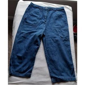 Talbots 12 Petite Blue Denim Capri Jeans Button
